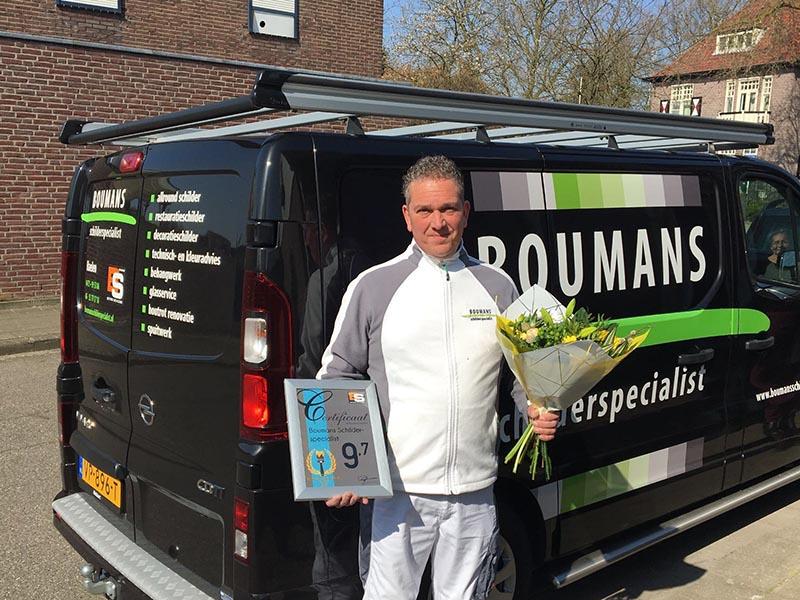 Wederom klant tevredenheidsprijs voor Boumans Schilderspecialist!